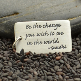 S2864   -SV-CHRM Sterling Silver Message Pendant - Gandhi Quote