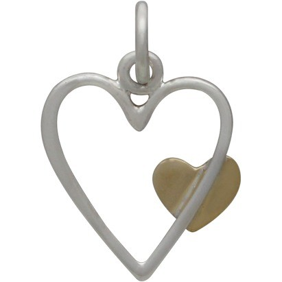 Sterling Silver Open Heart Charm with Bronze Heart