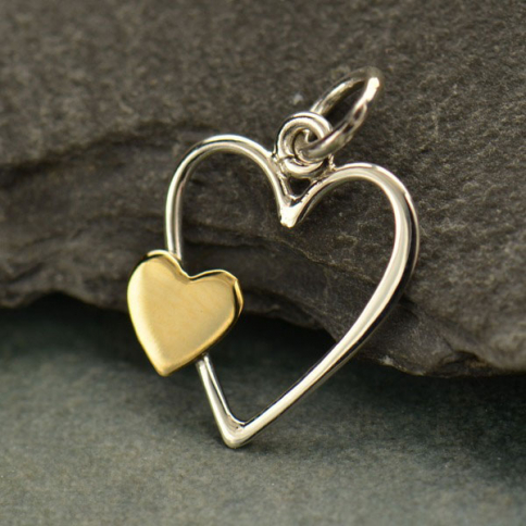 S2972   -SV-CHRM Sterling Silver Open Heart Charm with Bronze Heart