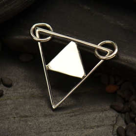 S2992   -SV-FEST Triangle Pyramid Festoon Silver Pendant DISCONTINUED