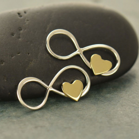 S2997   -SV-CHRM Sterling Silver Infinity Charm with Tiny Bronze Heart