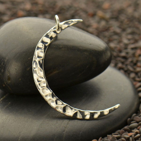 S3021   -SV-CHRM Sterling Silver Hammered Crescent Moon Charm - Large