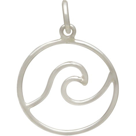 Sterling Silver Wave Pendant - Wire