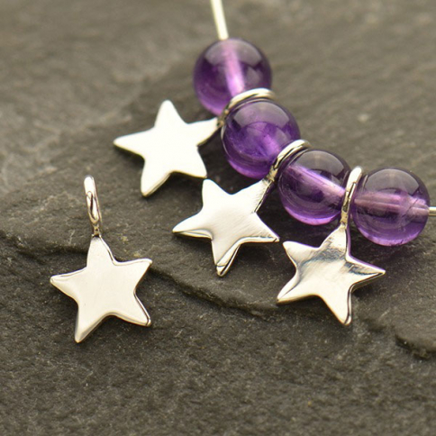 S3050   -SV-CHRM Sterling Silver Tiny Star Dangle Charm- 8mm