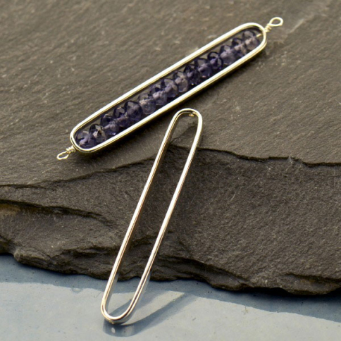 S3231   -SV-LINK Jewelry Parts - Sterling Silver Long Oval Frame with Holes