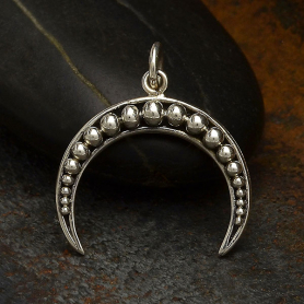 S3292   -SV-CHRM Sterling Silver Crescent Moon Charm with Granulation