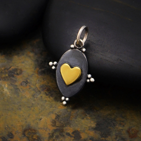 S3388   -SV-CHRM Sterling Silver Oxidized Heart Charm with Bronze Heart
