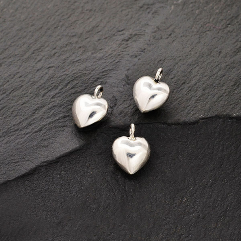 S395    -SV-CHRM Sterling Silver Puffed Heart Charm - Tiny