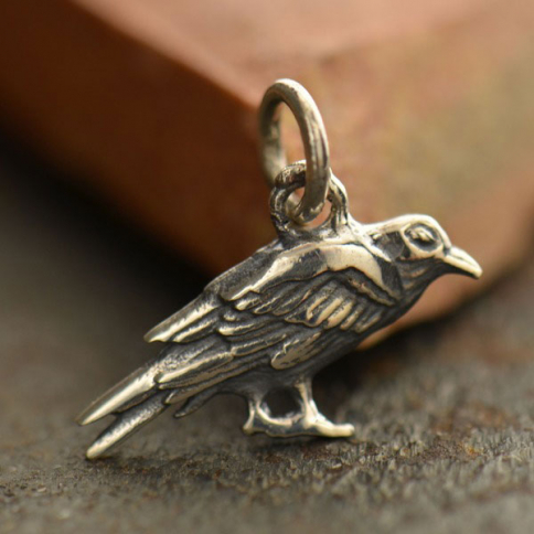 S6000   -SV-CHRM Sterling Silver Raven Charm