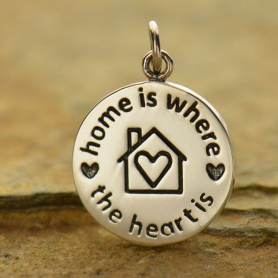 S6001   -SV-CHRM Silver Word Charm - Home is Where the Heart Is DISCONTINUED