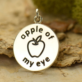 S6004   -SV-CHRM Sterling Silver Word Charm - Apple of my Eye DISCONTINUED