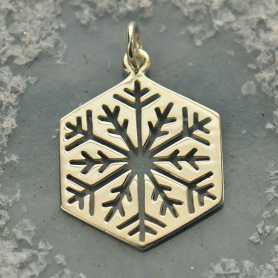 S6007   -SV-CHRM Sterling Silver Cut Out Snowflake Charm - Large