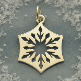 S6008   -SV-CHRM Sterling Silver Cut Out Snowflake Charm - Small