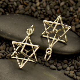 S6014   -SV-CHRM Sterling Silver Sacred Geometry Charm - Wire Merkaba Pendant