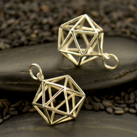 S6015   -SV-CHRM Silver Sacred Geometry Charm - Wire Icosahedron Pendant