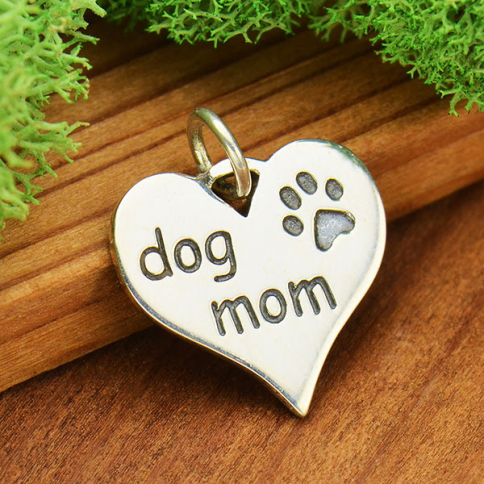 S6037   -SV-CHRM Sterling Silver Message Pendant - Dog Mom