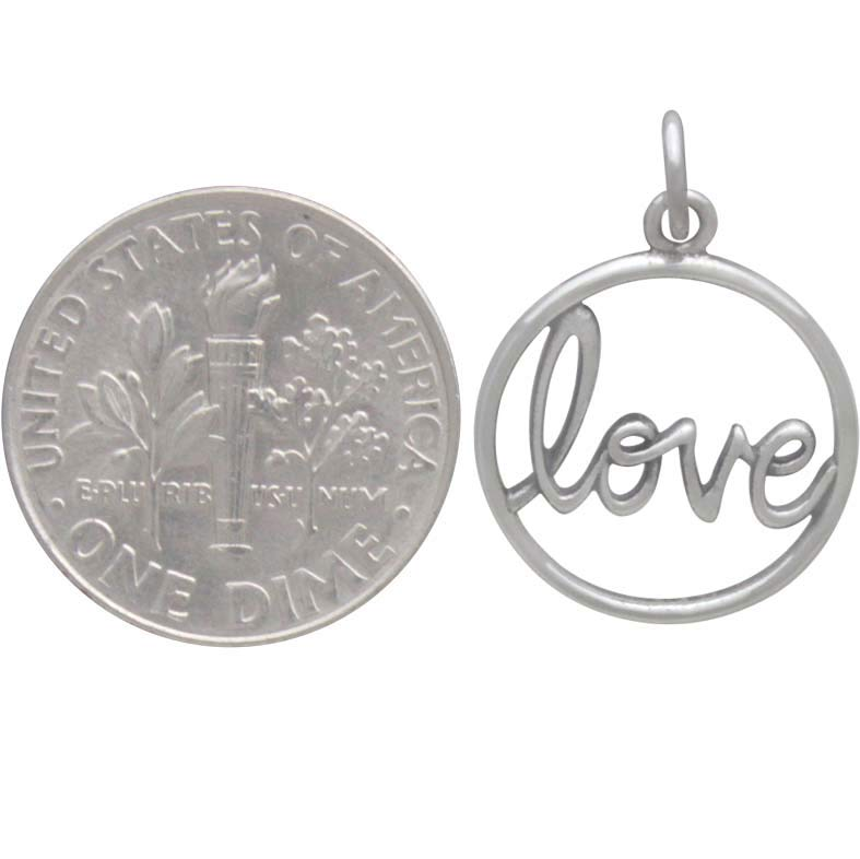 Sterling Silver Word Charm - Love in Cursive Script
