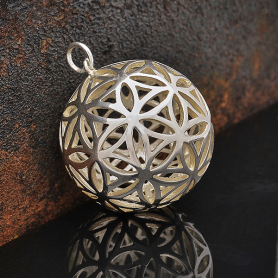 S6105   -SV-CHRM Sterling Silver Flower of Life Sphere Pendant