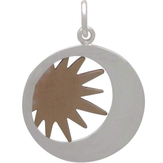 Sterling Silver Moon Charm in a Disk with Bronze Sun