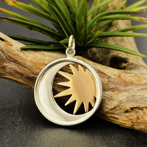 S6117   -SV-CHRM Sterling Silver Moon Charm in a Disk with Bronze Sun