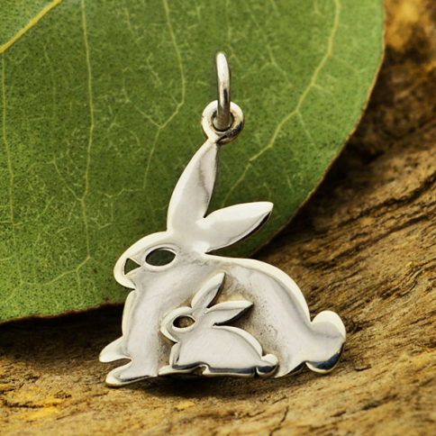 S6119   -SV-CHRM Sterling Silver Two Layer Mom and Baby Bunny Charm