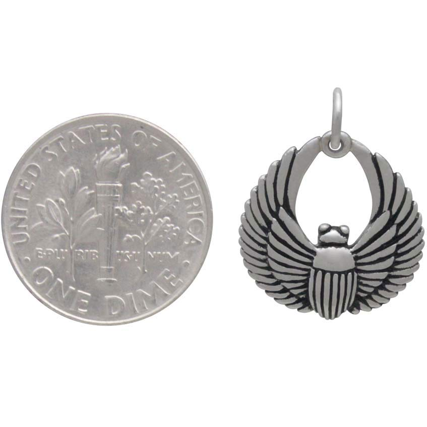 Sterling Silver Small Scarab Beetle Charm -20mm