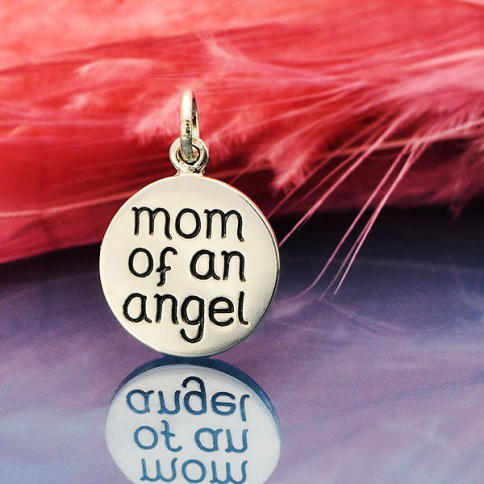 S6141   -SV-CHRM Sterling Silver Miscarriage Memorial Charm -Mom of an Angel