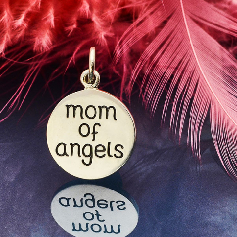 S6143   -SV-CHRM Sterling Silver Miscarriage Memorial Charm -Mom of Angels