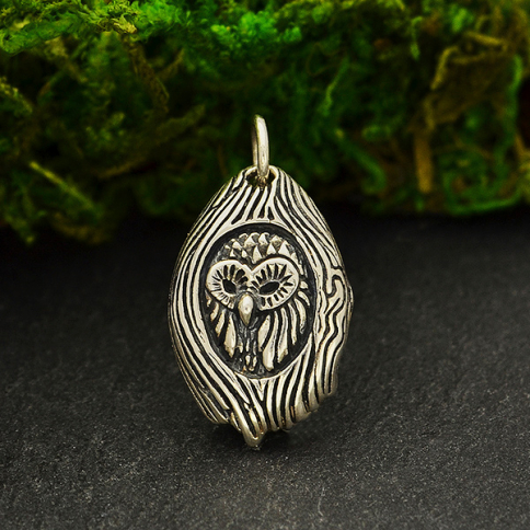 S6164   -SV-CHRM Sterling Silver Owl in a Tree Charm