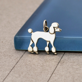 S6167   -SV-CHRM Sterling Silver Poodle Dog Charm