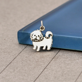 S6171   -SV-CHRM Sterling Silver Maltese Dog Charm