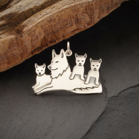 S6188   -SV-CHRM Sterling Silver Mama Wolf Pendant with Three Pups