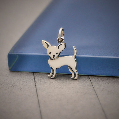 S6235   -SV-CHRM Sterling Silver Chihuahua Dog Charm 18x12mm