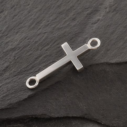 S6242   -SV-LINK Sterling Silver Cross Link with Large Loops 27x11mm