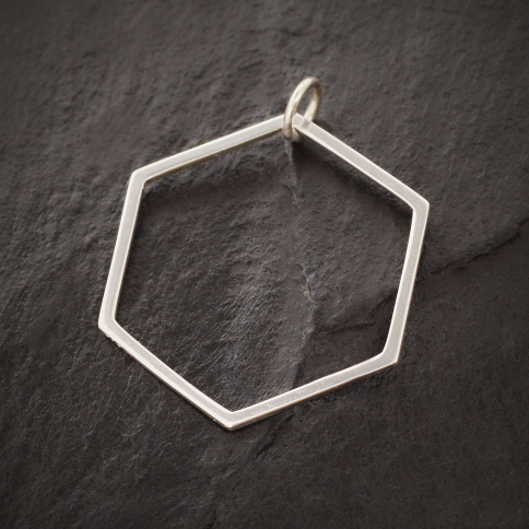 S6247   -SV-CHRM Sterling Silver Large Hexagon Charm 29x23mm