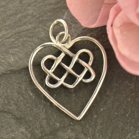 S7000   -SV-CHRM Sterling Silver Celtic Heart Charm DISCONTINUED