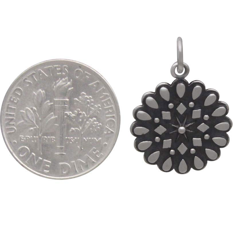 Sterling Silver Affirmation Mandala Charm -Resilience