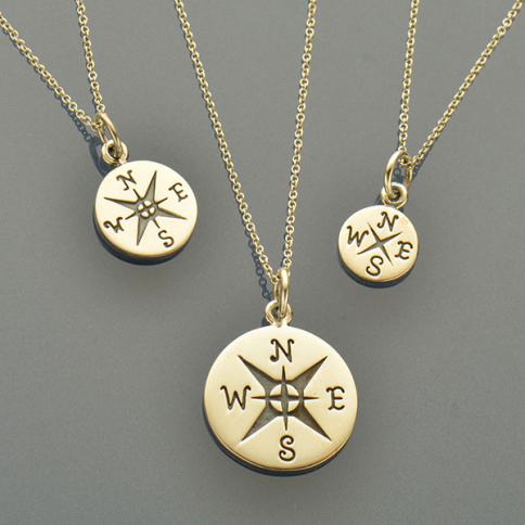 SET22   -SV-SETS Journey - Big, Med & Small Compass Charm Necklaces