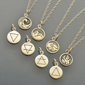 SET28   -SV-SETS Elemental Charm Necklaces - Earth, Air, Water and Fire