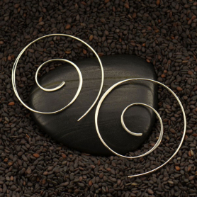 T2244   -SV-EARR Sterling Silver Ear Wire - Spiral Circle Shape