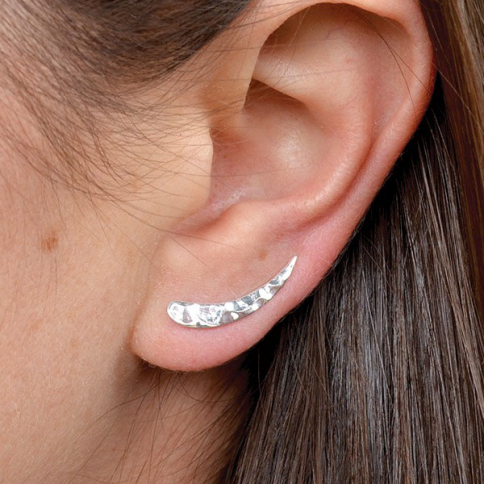 T3170   -SV-EARR Minimalist Jewelry - Sterling Silver Hammered Ear Climbers