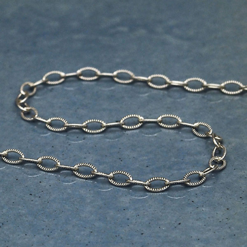 UCH107  -SV-CHAN Sterling Silver Chain by the Foot - Scored Wire Cable Chain