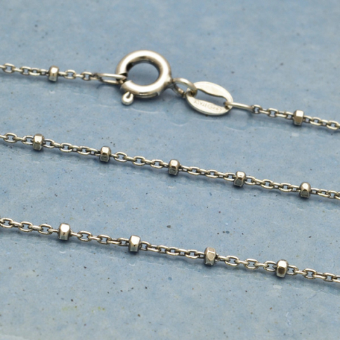 UCH321  -SV-CHAN Sterling Silver Chain - 16 inch Diamond Cut Station Chain