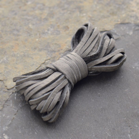 UL722   -LT-02MM Leather Cord - Gray 2mm Deerskin Laces