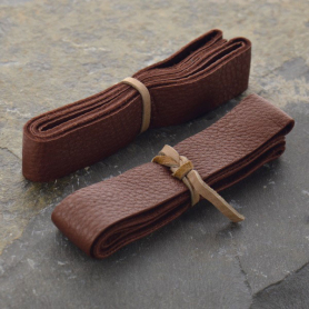 UL725   -LT-20MM Leather Cord - Chestnut Wide 2cm Deerhide