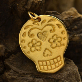 VGA1119 -BZ-GP1-CHRM Large Sugar Skull Charm - 24K Gold Plated BronzeDISCONTINUED