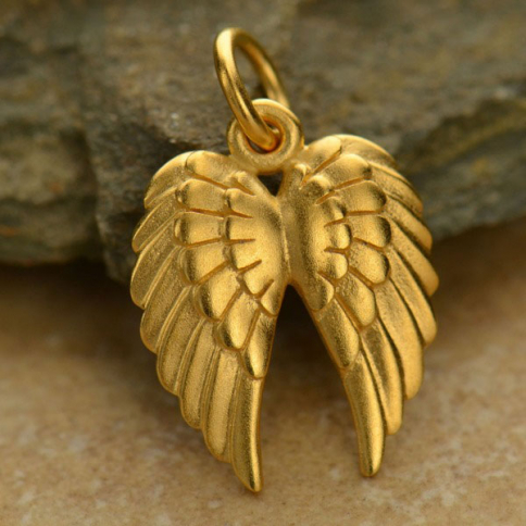 VGA1128 -BZ-GP1-CHRM 24K Gold Plated Bronze Double Wing Charm -19mm DISCONTINUED
