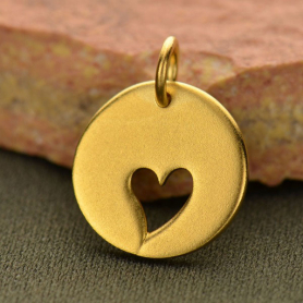 VGA591  -BZ-GP1-CHRM Round Charm with One Heart Cutout - 24K Gold Plated Bronze