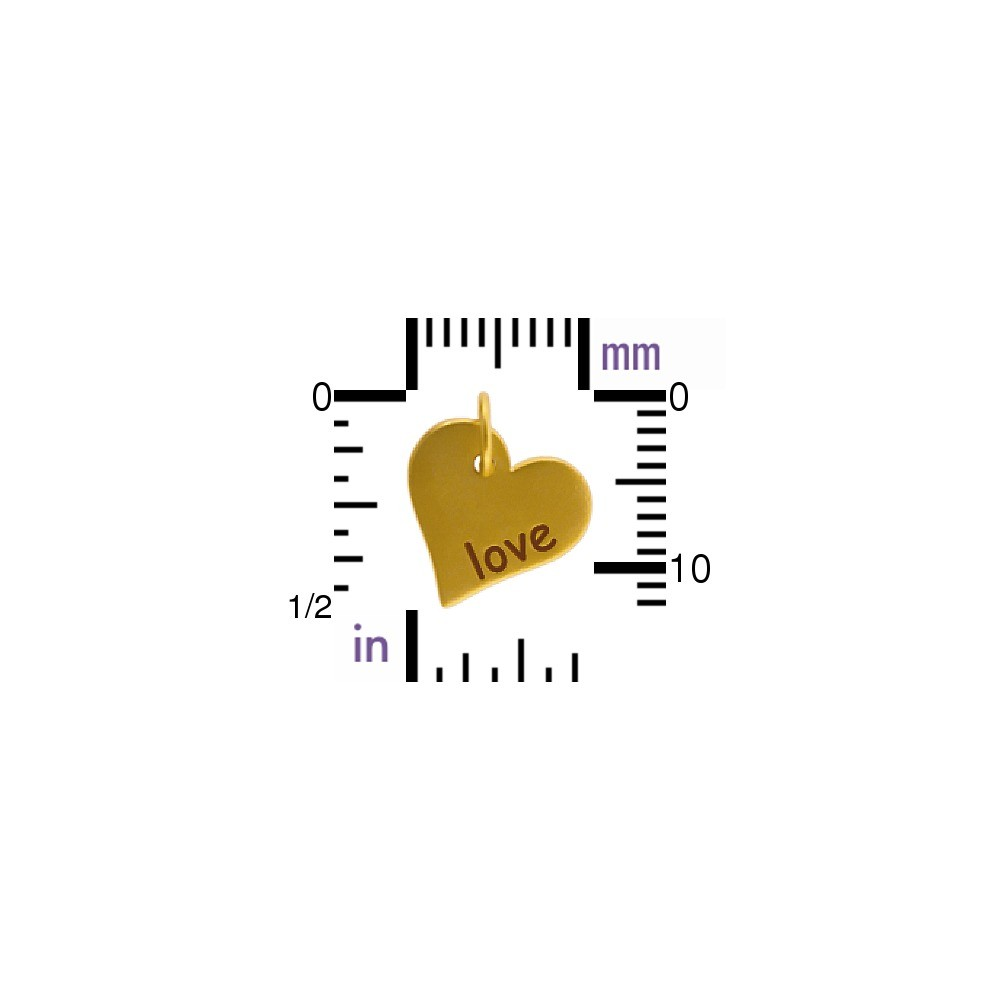 Word Charm Love in Heart 24K Gold Plated Bronze DISCONTINUED