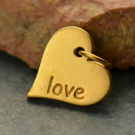 VGA686  -BZ-GP1-CHRM Word Charm Love in Heart 24K Gold Plated Bronze DISCONTINUED
